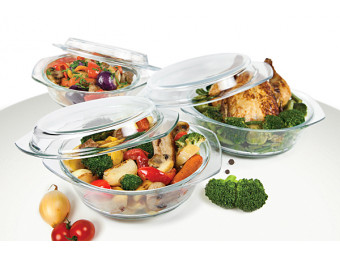 Купить Набор посуды ITERNA OV102 Набор жаропрочных стеклянных кастрюль 2,5л,1,5л, 0,8л