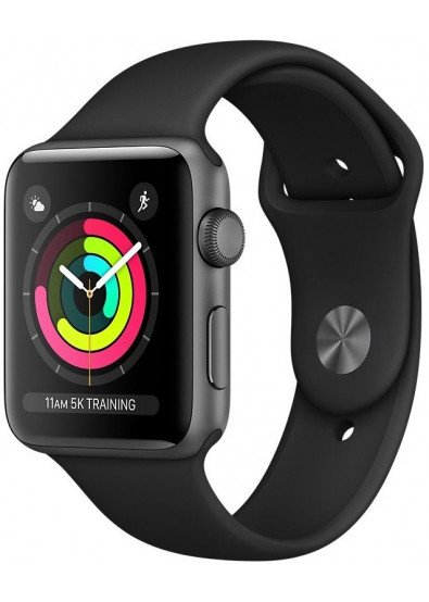 Фото - Смарт-часы Apple Watch Series 3 GPS, 42mm Space Grey Aluminium Case with Black Sport Band (MQL12FS/A)