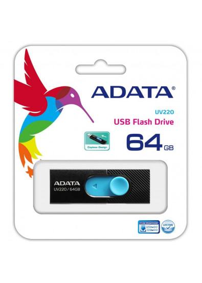Фото - Флеш USB A-DATA UV220 64GB USB 2.0 Black/Blue (AUV220-64G-RBKBL)