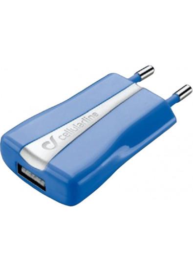 Фото - Сетевое зарядное устройство Cellular Line Compact USB blue (ACHUSBCOMPACTCB)
