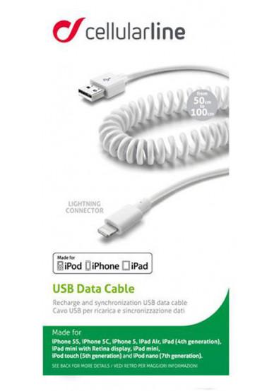 Фото - Кабель синхронизации данных Cellular Line Lightning 0.5-1m white (USBDATACOIMFIIPH5)