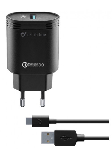 Фото - Сетевое зарядное устройство Cellular Line USB QC 3.0 + cable Type-C black (ACHHUKITQCTYCK)