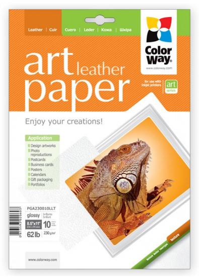 Фото - Фотобумага А4 Colorway ART глянцевая фактура ''Кожа'' 230 г/м², Letter, 10 л. (PGA230010LLT)
