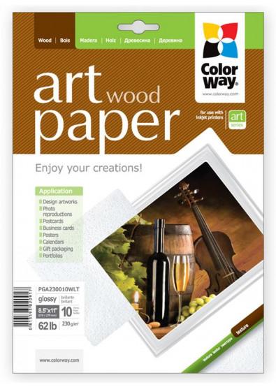 Фото - Фотобумага А4 Colorway ART глянцевая фактура ''Дерево'' 230 г/м², Letter, 10 л. (PGA230010WLT)