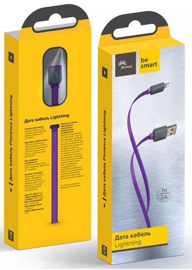 Фото - Кабель синхронизации данных Florence Color USB-Lightning 1m Purple (FDC-L1-2P)