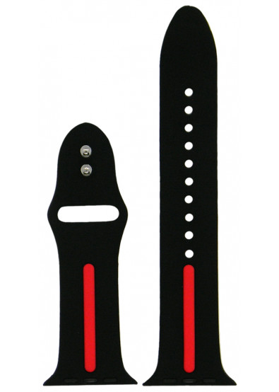 Фото - Ремешок для смарт-часов Molife Apple Watch Silicone Stripe Band Black/Red 42mm