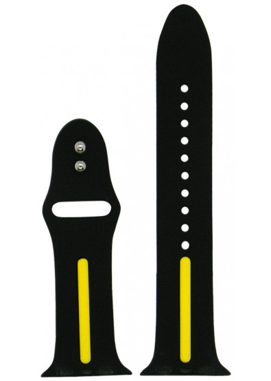 Фото - Ремешок для смарт-часов Molife Apple Watch Silicone Stripe Band Black/Yellow 42mm
