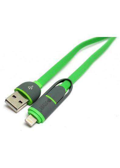 Фото - Кабель синхронизации данных PowerPlant USB 2.0-MicroUSB-Lightning 1m Green (KD00AS1291)