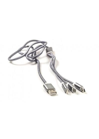 Фото - Кабель синхронизации данных PowerPlant USB 2.0-MicroUSB-USB-C-Lightning 1m Grey (CA910663)