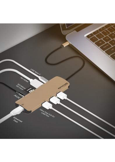 Фото - Хаб USB Promate PrimeHub-C Gold