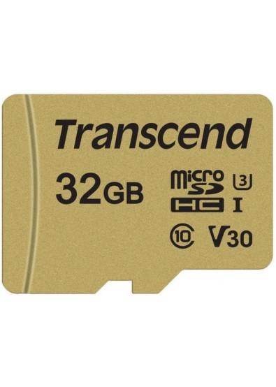 Фото - Карта памяти Transcend microSDHC 500S 32GB UHS-I U3 + adapter (TS32GUSD500S)
