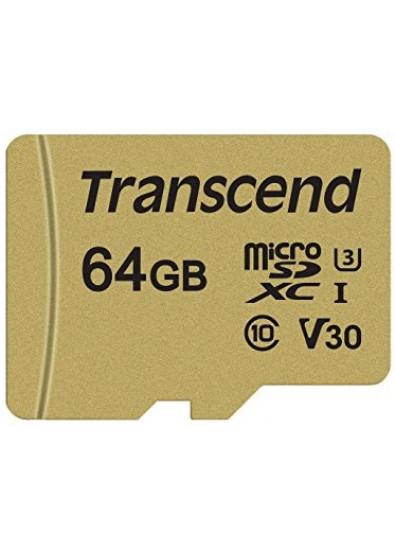 Фото - Карта памяти Transcend microSDXC 500S 64GB UHS-I U3 + adapter (TS64GUSD500S)