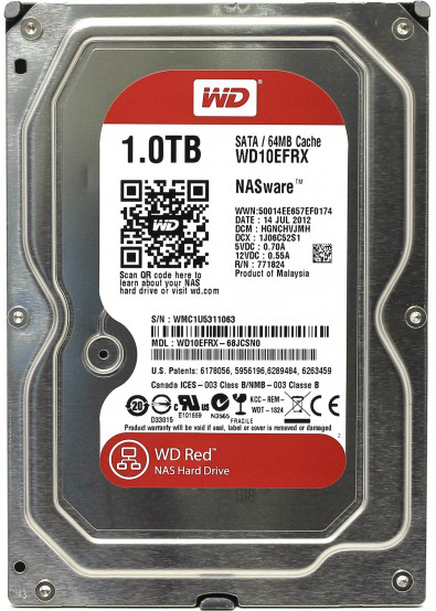 Фото - Жесткий диск внутренний WD Red 1 TB 5400 rpm 64 MB 3.5 SATA III (WD10EFRX)